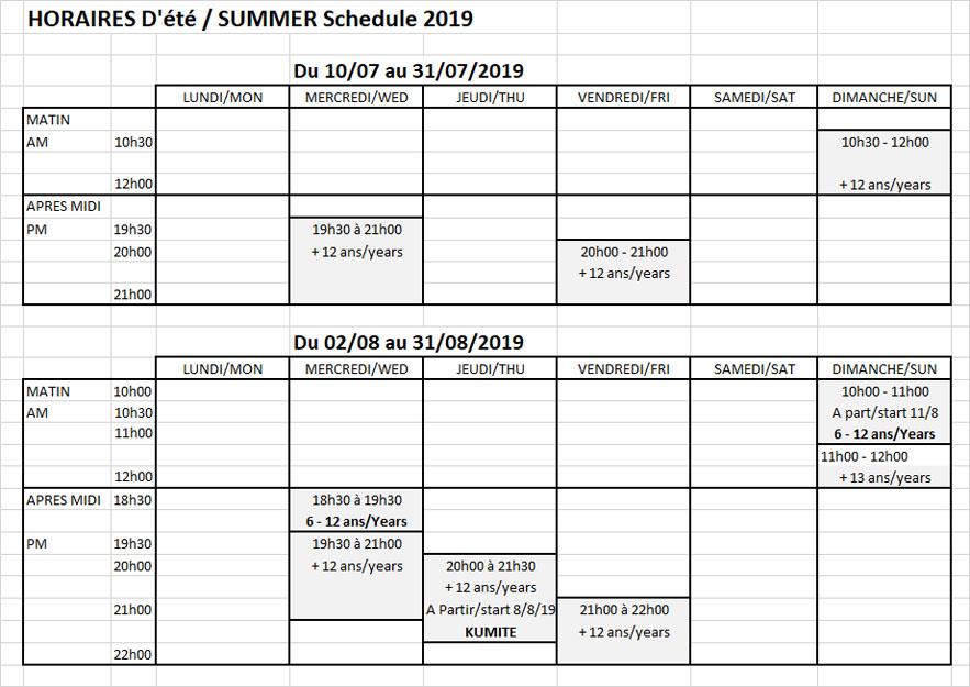 Horaires d'été Summer schedule 2019